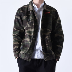Casual denim jeans, spring and winter coat, retro style, Korean trend, students' cashmere, thickening men's jacket 3XL Fan color