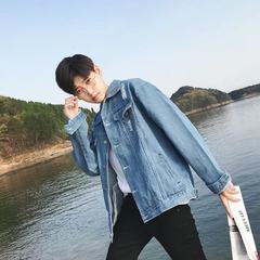 South Korea ulzzang jeans male coat all-match trend of Korean BF wind loose gown Harajuku handsome jacket 3XL J06 coat light blue