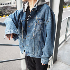 @ Hong Kong style boy's Denim coat, men's spring and autumn youth Hooded Jacket, Korean autumn loose student autumn outfit S blue