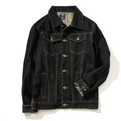 Shawn Yue's big size denim jacket, student casual denim jacket, jacket man 3XL Retro Black
