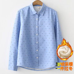 2017 winter leisure shirt with long sleeved shirt cashmere shirt female Korean students all-match S Swallow blue