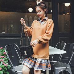 2017 autumn new women's wear false two sets loose loose middle length chic Wei dress autumn long sleeve shirt dress S Caramel color