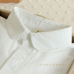 The spring and autumn all-match Sanmu agency white shirt sleeved cotton shirt female college students backing wind slim Korean fan S Gold collar button