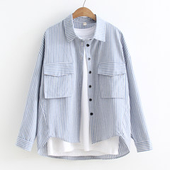 2017 new autumn style inch BF style blouse, female long sleeve student leisure coat, loose Korean fan shirt bottoming XS Upgraded stripe blue