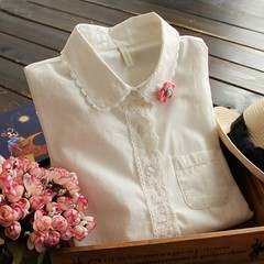Autumn and winter Lapel long sleeve cotton shirt, female Japanese literature and art fresh small and high school students, embroidered flowers white shirt XL [suggestion 118-128 Jin] Beige