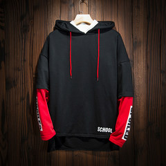 2017 new Hoodie men loose jumper autumn color trend of Korean students long sleeved clothes 3XL black