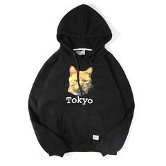 @ Aberdeen new literary men fall winter Hooded Sweater Korean stamp plus velvet sport coat thickening students M black