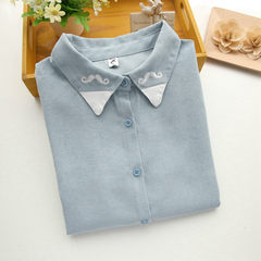 2017 new winter wind corduroy shirt embroidered Korea Institute of female students all-match loose literary tide S pays attention to shop etiquette 9072# blue