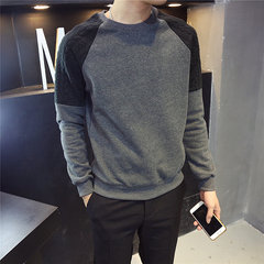 Chen Bangjia - Hong Kong Korean men's T-shirts with wind cashmere sweater stitching male youth Winter Jacket head 3XL Dark grey