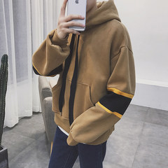 Metrosexual new hooded head set with cashmere sweater youth leisure all-match thickened couple tide all-match sweater S Camel