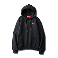 Autumn and winter with cashmere Hoodie original tide brand embroidered with loose turtleneck cap Harajuku boys Hoodie sweater male color S Black and thin cashmere