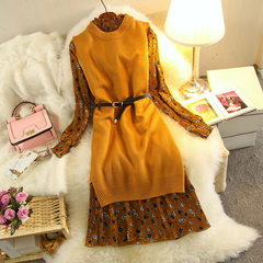 New winter Floral Chiffon Dress dress with long sleeves in the long slim slim knit suit dress M yellow