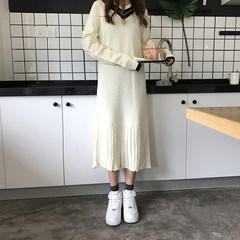 2017 fall fashion simple V collar sweater dress stitching loose thin long paragraph sweater dress F Apricot thickening