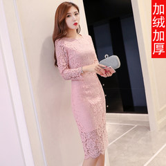 2017 autumn dress, new style of self-cultivation, buttocks backing skirt, women's autumn and winter long sleeves, long plush, thickening lace dress 2XL (also Frank free) Pink (with cashmere thickening)