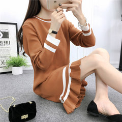 2017 autumn outfit new women's wear, autumn bottoming skirt, long sleeve thickening, long and long knitted dress, autumn and winter F Camel