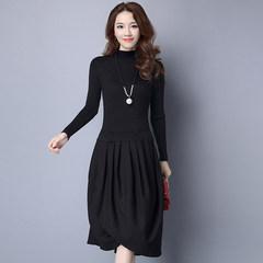2017 autumn dress, new woman long skirt, sweater bottoming shirt, false two piece skirt stitching knitting dress, autumn and winter S Style 1