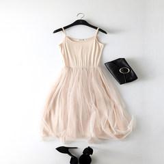 Autumn gauze skirt modal loose backing sling ride elastic lace vest dress code dress female Small Edition (90-120 Jin) Sling Beige