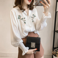 2017 autumn outfit, new Korean embroidered blouse, long sleeve blouse, loose lantern sleeve, chic chiffon shirt S white