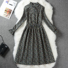 Autumn and winter clothing Sen retro thickened long sleeved corduroy floral dress in the long section of students printing backing skirt S Flower color 8
