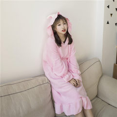 Autumn and winter fashion dress dress Home Furnishing Korean students loose thin hooded skirt cute soft sister dress tide F Pink