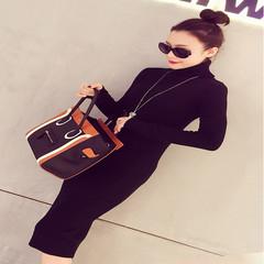 2017 autumn and winter wool knitting dress new long sleeved turtleneck female slim long knee dress skirt M black