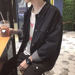 New style men's loose denim jacket, Korean jacket, jacket, water washed motorcycle, jeans tide M black