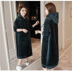 Autumn and winter double cashmere silk velvet velvet long thick Hoodie Korean female knee loose bottom dress M Blackish green