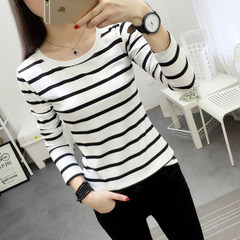 Spring 2017 new female T-shirt long sleeved loose Korean students autumn clothing stripe all-match bottoming shirt coat wear S White stripe (one-piece)
