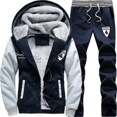 13 plus 14 cashmere sweater coat boy thickening 15 junior middle school students at the age of 16 young male autumn and winter sport suit 2XL D57 dark blue