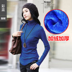 A shirt female autumn and winter 2017 new Korean large yards long autumn clothes loose and long sleeve jacket cotton T-shirt XL [suggestion 115-130 Jin] Velvet blue