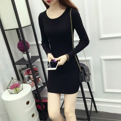 2017 autumn and winter new style self-cultivation long sleeve, long sleeved knitted sweater, female thickening dress, buttocks backing skirt XL code [120-140 Jin] black