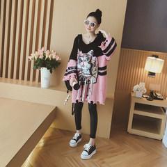 2017 autumn style new women's wear, long sleeve of bat sleeve, cartoon cat's Knitted Dress F Pink