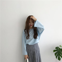 Korean women's all-match chic retro autumn loose BF simple student leisure long sleeved T-shirt jacket shirt F Sky blue