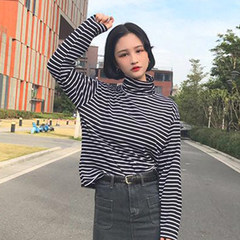 The spring and autumn Korean women all-match loose turtleneck long sleeved striped T-shirt shirt blouse T-shirt slim students tide F stripe