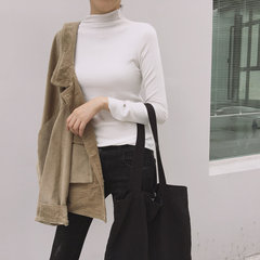 In a semi high necked sweater 2017 new winter dress slim black and white long sleeved T-shirt bottoming shirt original night wind F white
