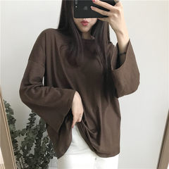 Bottoming shirt sleeved women Hong Kong style retro chic leisure simple thin sleeve head all-match loose T-shirt coat color F Dark coffee