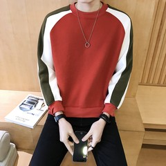 [2] in the autumn of 2017 new men's sweater T-shirt student sport coat sleeve head trend 3XL W622 red