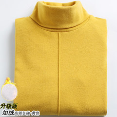 With velvet thickened turtle neck long sleeve bottoming shirt female 2017 warm winter cotton T-shirt small wind all-match Harajuku autumn clothes M With the upgraded version of yellow - sleeved cashmere turtleneck