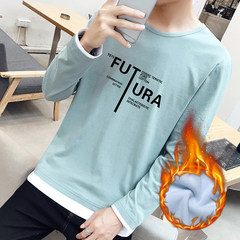 Men in autumn and winter sports sweater set head cap youth fashion cashmere Hoodie and thickening of Korean Students 3XL TX3013 (with blue velvet)