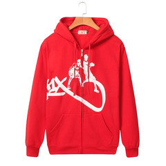 New winter sweater men increase loose hooded cardigan cashmere with long sleeved casual sport coat thick fat tide L [150-170 Jin] KX red
