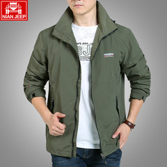 Speed suit NIANJEEP blue and white men's big size Outdoor Jacket, sports jacket, spring and autumn, long tide XL for about 160 pounds Army green