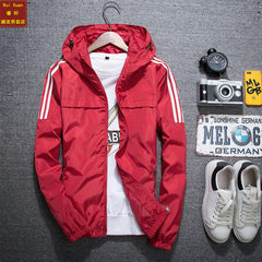 Men's sports jacket cotton jacket plus 2017 new male male Korean youth handsome athletic wear winter clothes in spring and Autumn 3XL Double red
