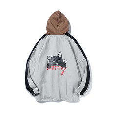 In autumn 2017 Korean new men's sweater long sleeved sportswear head cap student fashion jacket blouse S Light grey