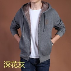 Autumn and winter coat and cashmere sweater thickened male warm Zip Hooded loose size casual male sport coat thickness 3XL Dark grey