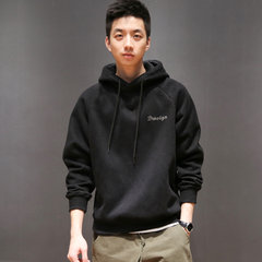 Macheda original autumn winter Japanese minimalist stamp Hoodie youth men's cashmere pullover with loose tide S black