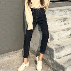 Autumn Korean women loose high waist jeans pants nine simple Haren skinny pants pants pencil pants. S black