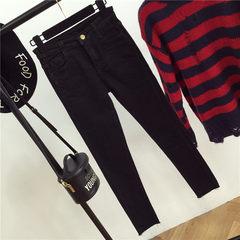 The fall of new grey Korean slim black tight jeans micro burr stretch jeans women L code 869 black