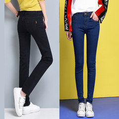 Straight jeans female autumn 2017 spring and Autumn New Korean all-match loose size high waisted black pants Thirty-four Black send [deep blue feet pants]