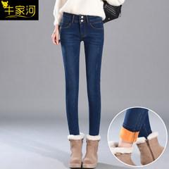Korean skinny slim slim elastic velvet jeans women age 2017 feet thick all-match new trousers 31 yards 013 blue trousers