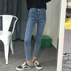 Autumn Korean women's new all-match jeans waist slim pencil pants nine pants pants pants S Wathet